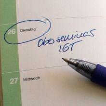 Eintrag in einen Tischkalender, Erinnerung an das Oberseminar IGT